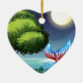 A sea with a tail of a mermaid Double-Sided heart ceramic christmas ornament
