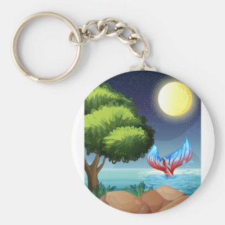 A sea with a tail of a mermaid basic round button keychain