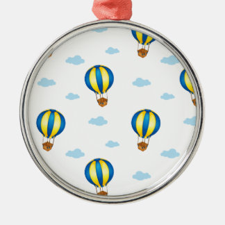 A seamless design with big floating balloons round metal christmas ornament