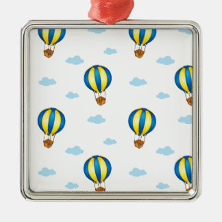 A seamless design with big floating balloons square metal christmas ornament
