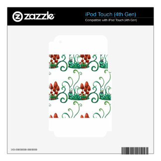 A seamless design with worms in a garden decal for iPod touch 4G