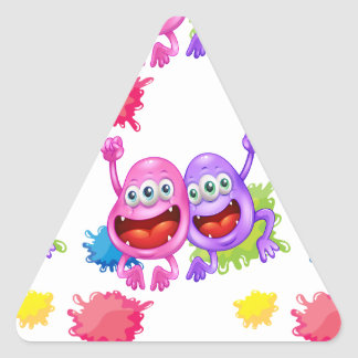 A seamless template with monsters triangle sticker