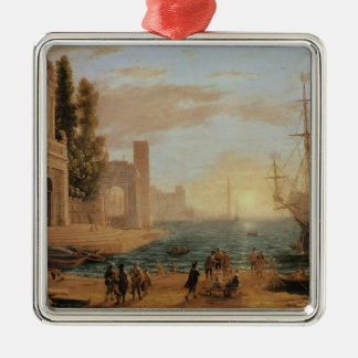 A Seaport, 1639 Square Metal Christmas Ornament