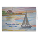A seascape with lighthouse and boat in the evening good wishes card