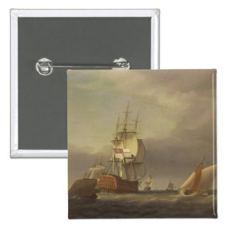 A Seascape with Men-of-War and Small Craft (oil on Button