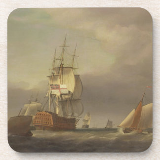A Seascape with Men-of-War and Small Craft (oil on Drink Coasters