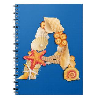 'A' seashell monogram Notebook