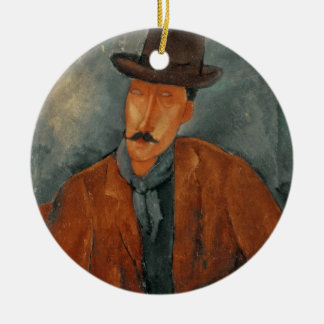 A seated man leaning on a table ceramic ornament