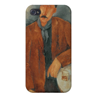 A seated man leaning on a table iPhone 4 cover
