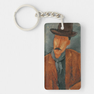 A seated man leaning on a table Double-Sided rectangular acrylic keychain