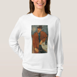 A seated man leaning on a table T-Shirt