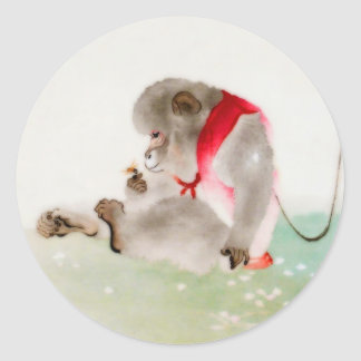 A Seated Monkey Observing An Insect Classic Round Sticker