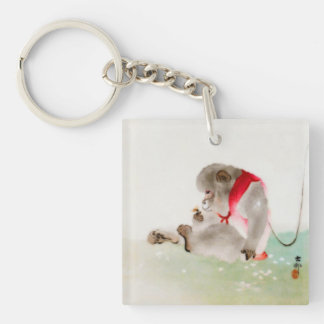 A Seated Monkey Observing An Insect Double-Sided Square Acrylic Keychain