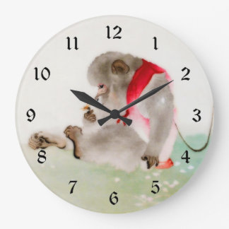 A Seated Monkey Observing An Insect Large Clock