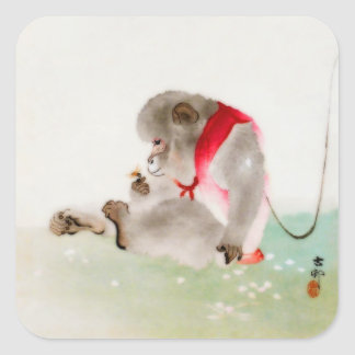 A Seated Monkey Observing An Insect Square Sticker