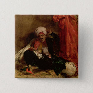 A Seated Turk, 1826 (oil on canvas) Pinback Button