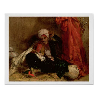 A Seated Turk, 1826 (oil on canvas) Poster