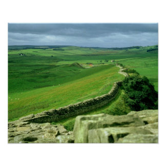 A section of Hadrian's Wall, 2nd century AD (stone Poster