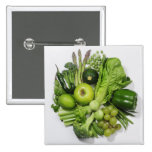 A selection of green fruits & vegetables. 2 inch square button