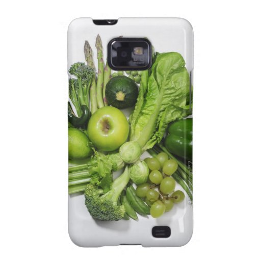 A selection of green fruits & vegetables. galaxy s2 case