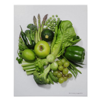 A selection of green fruits vegetables poster
