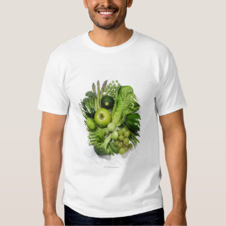 A selection of green fruits & vegetables. tee shirt