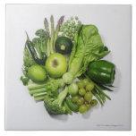 A selection of green fruits & vegetables. ceramic tile