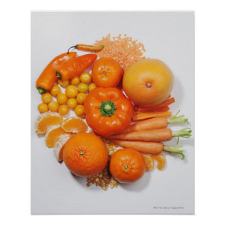 A selection of orange fruits & vegetables. poster