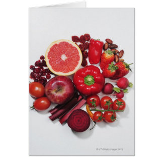 A selection of red fruits & vegetables. greeting card
