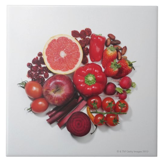 A selection of red fruits & vegetables. tile