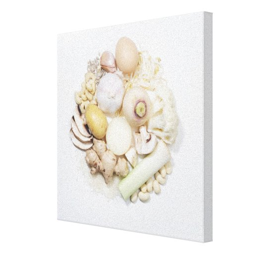 A selection of white fruits & vegetables. canvas print