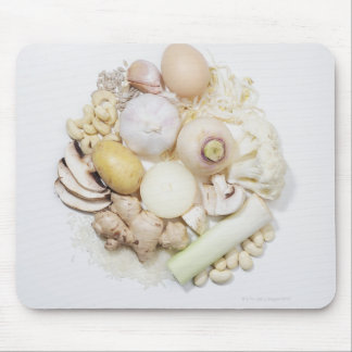 A selection of white fruits & vegetables. mouse pads