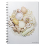 A selection of white fruits & vegetables. notebook