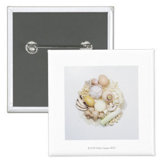 A selection of white fruits & vegetables. pinback button