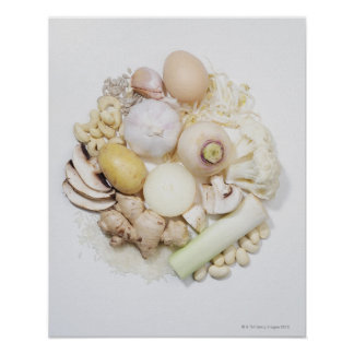 A selection of white fruits & vegetables. poster
