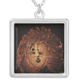 A Seneca mask used in winter rites Silver Plated Necklace