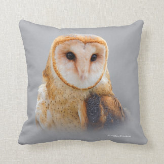 A Serene and Beautiful Barn Owl Throw Pillow