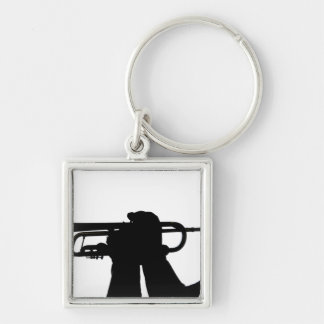A service member plays a tune Silver-Colored square keychain