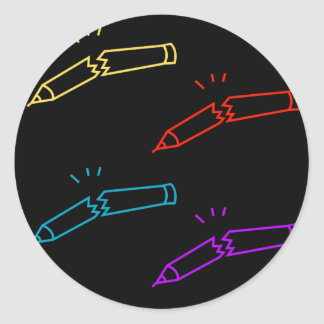A set of Broken pencils Classic Round Sticker