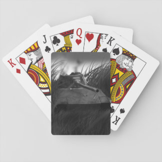 A set of playing card with a Tank painting design. Poker Cards