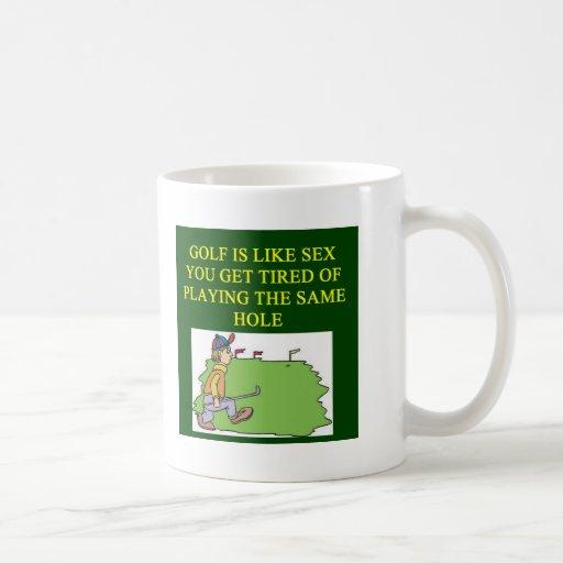 a sexy golf joke classic white coffee mug