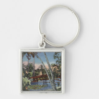 A Shady Retreat in Echo Park Silver-Colored Square Keychain