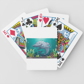 A shark under the sea bicycle playing cards