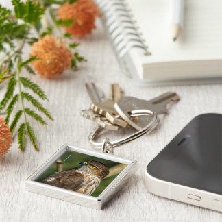 A Sharp-Shinned Hawk Comes A-Callin' Silver-Colored Square Keychain