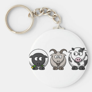 A Sheep, A Goat and a Cow Basic Round Button Keychain