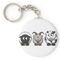 A Sheep, A Goat and a Cow Keychain