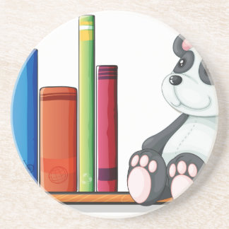 A shelf with books and a toy panda beverage coasters