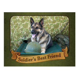 A Shepherd is a Soldier's Best Friend Postcard