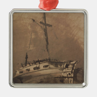 A Ship in Choppy Seas, 1864 Metal Ornament