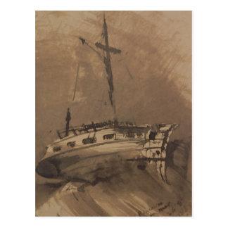 A Ship in Choppy Seas, 1864 Postcard
